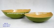 Artex Thanglong - green bamboo fruit bowls, non-toxic water-based adhesive, natural lacquer, food-safe(set of 2)