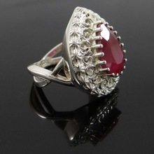 Indian Marked 925 Sterling Silver Pear Ruby Gemstone Jewellery Gift Ring