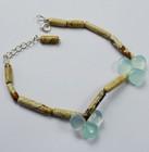 Picture Jasper / Light Blue Chalcedony With 925 Sterling Silver Jewelry Bracelet