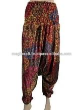 Ladies Harem-Pants-Trouser Women aladdin floral Hippie Boho Paints Casual-peacock printed silk indian harem pant