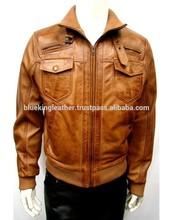 Mens Brown Bomber Leather Jacket 6 Pocket Real Leather