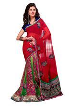 Triveni Tantalizing Traditional Patch Worked Wedding Wear Georgette Jacquard Lehenga Saree 2319