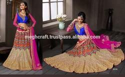 Bridal Wear Satin lehenga with beautiful thread work done-Pakistani Designer Heavy Bridal Lehenga Choli Dress Pakistani Lehengas