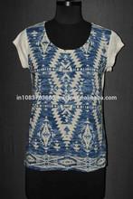 Alibaba New Arrival Denim Blue pattern white Garment Print Designs Tunic Top