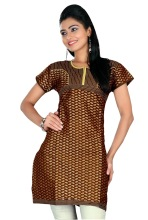 Triveni Half-Sleeved Round Neck Brown Cotton Kurti- KK264
