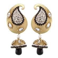 Triveni Dazzling Kairi Golden and Black Drop Earrings 8380
