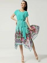 2015 Latest western wear designer fashion trendy asymmetrical short sleeve floral maxi casual wear one piece retro dress