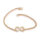 14K Gold Plated Genuine White Topaz Heart Infinity Figure 8 Design Double Strand Bracelet