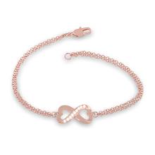 14K Rose Gold Plated Genuine White Topaz Heart Infinity Figure 8 Design Double Strand Bracelet