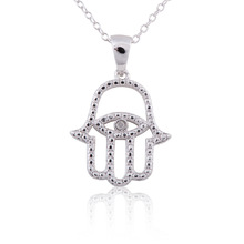Sterling Silver Rhodium Plated Diamond Accent Hamsa (Hand) Evil Eye Pendant Necklace, 18""