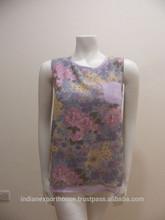 Flower printed SALE FASHION SHORT SLEEVE Classic Style Summer Loose Cotton Sleeveless Women short Blouse 2015