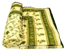 Designer Handmade Jaipuri Single Bed Cotton Razai (Quilt) in traditional Sanganeri Hand Block Floral Quilt