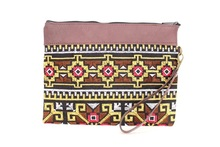 Brown Leather Wristlet with Kilim Pattern - Gold