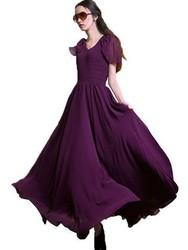Elegant Style High Quality V neck Party Dresses Deep Purple Wholesale Price Women Casual Dress