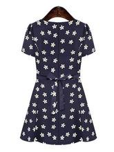 Wholesale price new arrival sweet flower o neck short sleeve slim chiffon women casual dress