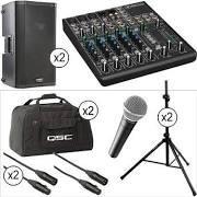 "QSC K10 10"" 2-Way 1000 Watt Powered Speakers Large Kit, mixer, musical instrument"