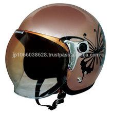 Big butterfly motif open face type helmet pearl color BROWN Ladies size