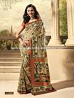 Exclusive Designer Printed Dupion Raw Silk Sarees