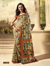 Exclusive Designer Printed Dupion Raw Silk Sarees