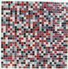 """ BURST "" red white black grey glass square backsplash mosaic wall tile"