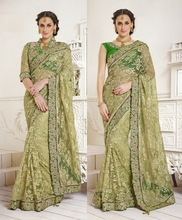 Light Olive green Net Jacquared Designer Sarees