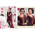 Designer Magical Brasso Blue & Red Straight Long Embroidered Chudidar Salwar Kameez