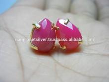 Beautiful Hot Pink Chalcedony Gemstone Earring