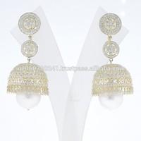 """14k Gold Designer """"JHUMKA"""" Pave Diamond Dangle Earrings"""