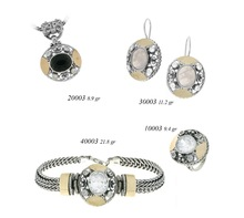 Silver and gold Israeli hand made set 925k and 9k/14k 70104