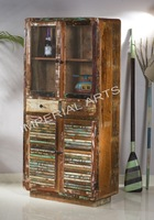 Recycled Wood Glass Cabinet Living Rood Furniture