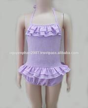 Wholesale seersucker swimsuit for baby girls Summer 2015