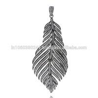 Feather Charm Pendant .925 Sterling Silver Pave Diamond Designer Charm 14k Gold Pendant