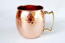 16 fl oz Pure Copper Moscow Mule Mug Hammered with Lacquer Finishing and Brass Handle