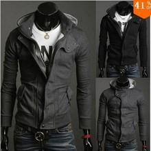 Autumn Winter Hot Sale 2015 Mens Outwear Slim Fit Jacket Long Sleeve Zipper Hoodies Coat Black Gray Plus Size L XL XXL XXXL
