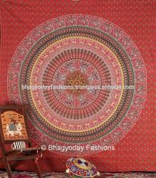 Beautiful Indian mandala round elephant block print tapestry bedsheet Hippie bedspread Bohemian bedcover wall hanging Decorative