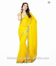 Plain Party Wear Saree With Lace Border Design