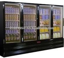 Glass Door Refrigerators in Black Exterior & Interior, Hinged, Bottom Mount, LED Lights, 78.5 X 33.5 X 103.75