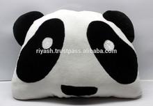 PANDA filled Pillow Cushion Cotton Velvet Front & Cotton Back - 42 x 32 Cm ( 12 Cm Ht. )