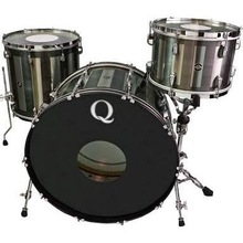 """Q Drum Co. Stainless Steel 3-Piece Drum Set Shell Pack (24"""" Bass, 13/16"""" Toms) with Rectangle Patina"""