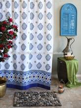 indian Casablanca Moroccan Style White Quatrefoil Print Shower Curtain -