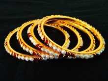 Wholesale Indian pearl bangles-pachi art bangles-indian fashion jewelry-one gram gold plated pachi art bangles