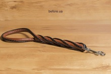 Twisted short leather dog lead