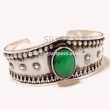 High Quality Oxidised Polish Cuff Bangle with Buff top Green Onyx 925 Sterling Silver Gemstone Bangle