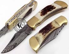 Custom Made Damascus Steel Folding Pocket Knife (S.06)