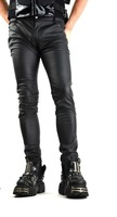 2015 GOTHIC BONDAGE VINYL PVC VEGI LEATHER FETISH SKINNY GOTHIC ROCKER JEANS MENS PANTS COTTON MATERIAL