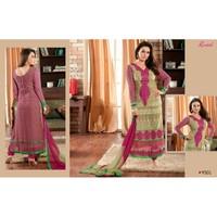 Preity Zinta Designer Cream & Pink Embroidered Straight Long Chudidar Salwar Kameez