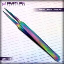Eyebrow plucking tweezers / splinters tweezers multi titanium coated eyebrow tweezers CET 1453