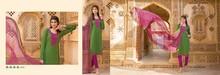 Designer Cotton Jacquard Embroidered Green & Pink Straight Long Chudidar Salwar kameez