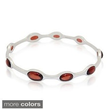 New Design Fashion Jewellery Silver Gold Plated Red Gemstone Bangle