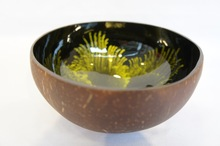 Lacquer Coconut Shell Bowl Firework Art With Yellow Color
